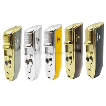 COHIBA Metal Snake Mouth Shape 3 Jet Blue Flame Torch Cigar Cigarette Lighter Windproof With Cigar Punch Gift Box Smoking Tool cohiba cigar lighter butane 3 torch jet flame lighter with cigars cutter punch accessories windproof cigarette lighter gift box