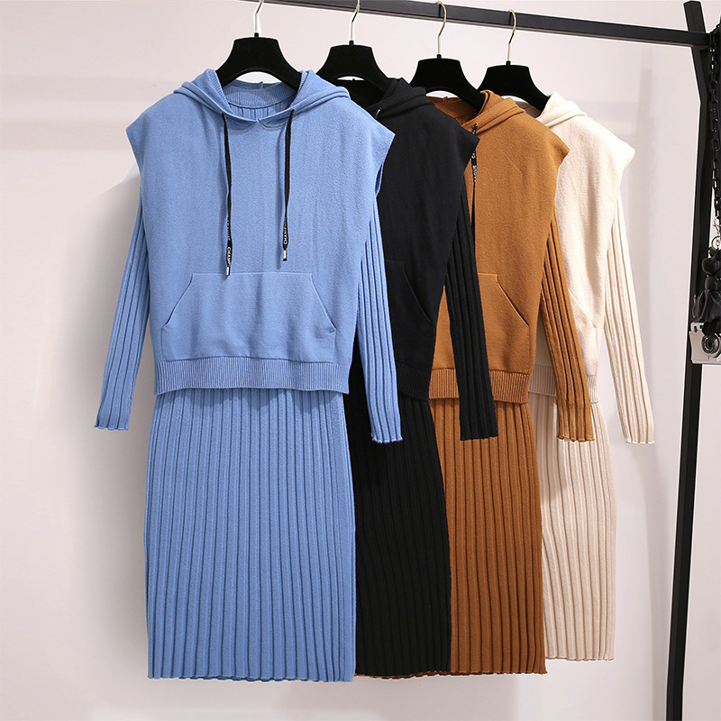 Goddess Dress Sweater Two-Piece Set Spring And Autumn New Style Online Celebrity Fashion WOMEN'S Suit Slimming Knit Hoodie Base