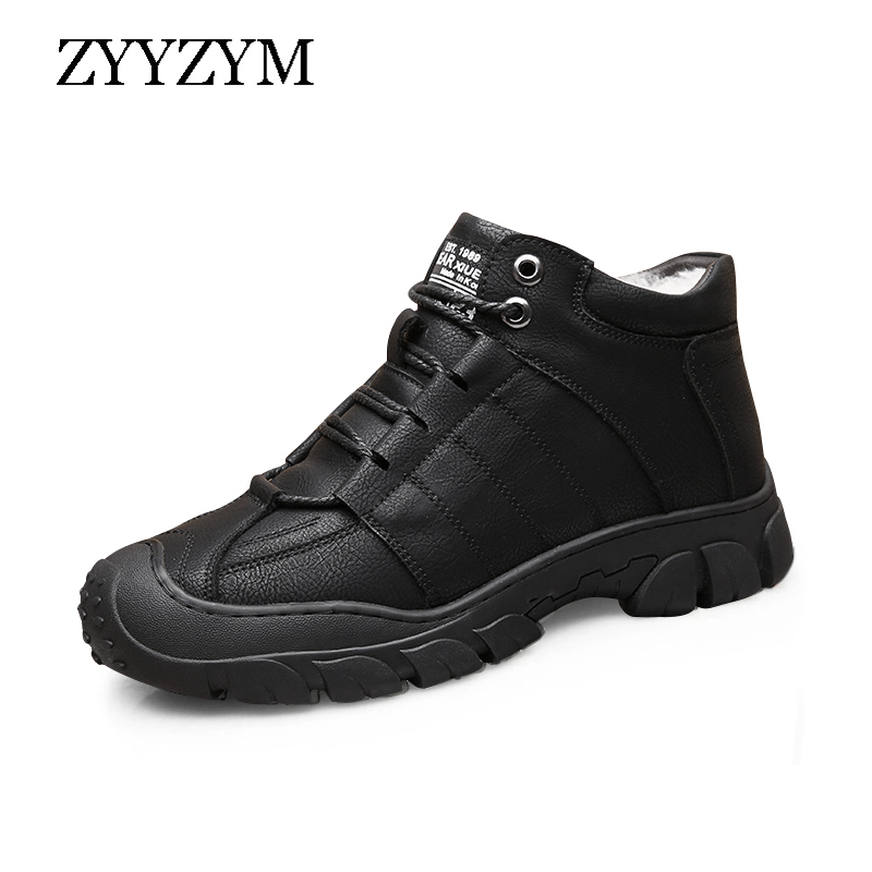 ZYYZYM Men Boots Winter Wool Fur Thick Keep Warm Casual Shoes Leather Designer Sewing Outdoors Ankle Boots for Man|Basic Boots| - AliExpress