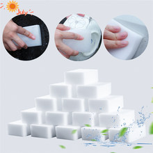 100 pçs/lote branco melamina esponja mágica esponja borracha melamina esponja limpador para cozinha banheiro limpeza esponja 100x70x30mm
