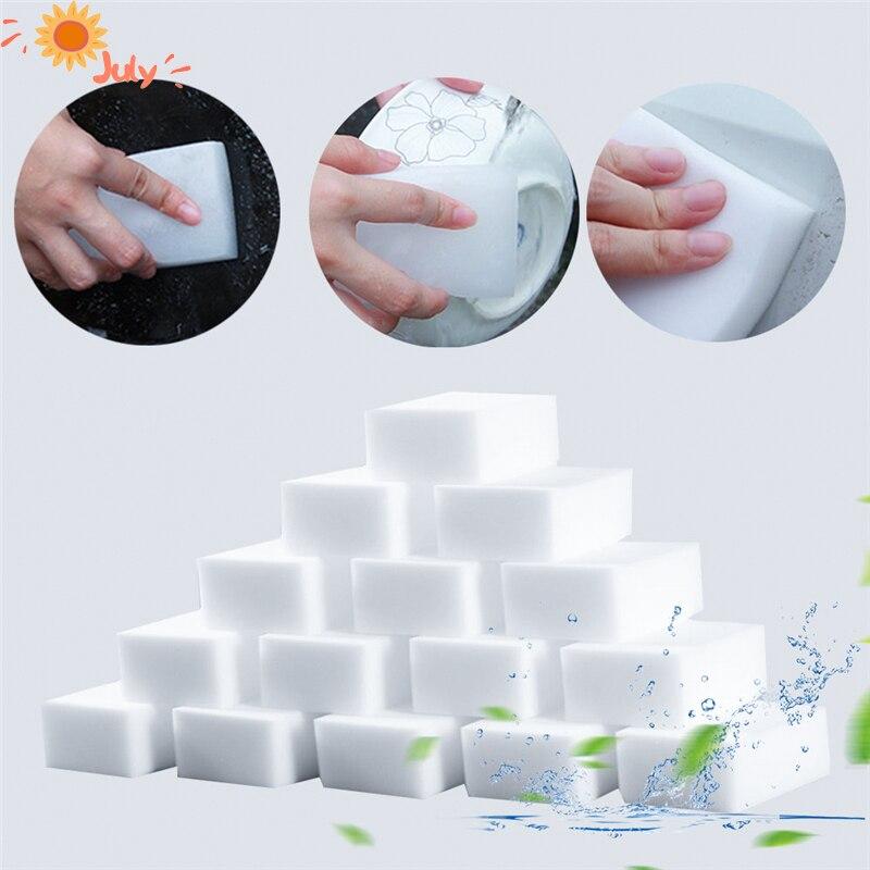 100 шт./лот, белая меламиновая губка, волшебная губка, ластик, меламиновая губка для очистки кухни, ванной комнаты, губка 100x70x30mm