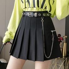 2021 Black Mini Skirt Women Punk Gothic High Waist Goth Harajuku Skirts Cute School Girl Preppy Style Pleated Skirt With Belt