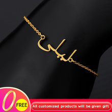 Custom Arabic Name Bangles Bracelets For Women Girls Rose Gold Silver Stainless Steel Charms Handmade Engraved Name Bracelet BFF engraved bracelet for women child name bracelet custom name bangles gold silver stainless steel mujer name bangles jewelry gift