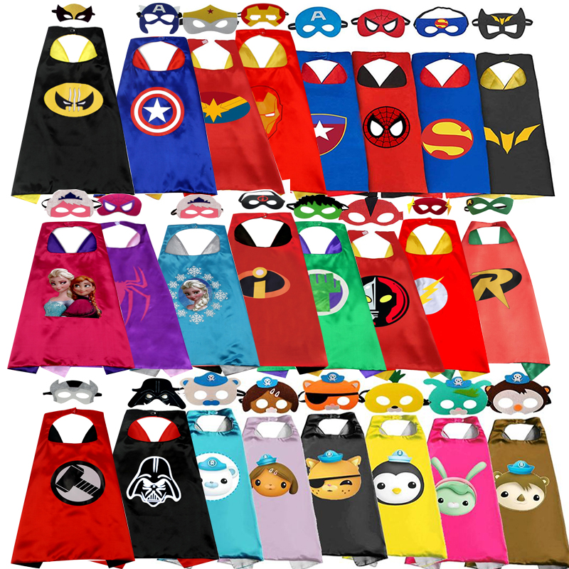 1CAPE+1MASK SuperHero Capes Cosplay Costume For Children Halloween Party Costumes For Kids Superhero Cloak