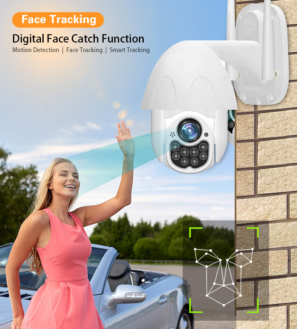 10 LED Full-color Night Vision HD 1080P 2MP PTZ Wireless WiFi IP Camera Outdoor Waterproof 200W Pixel Wall Mount Camera