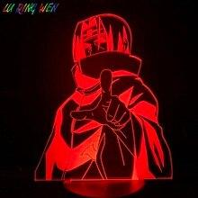 Япония аниме Наруто Учиха Итачи лампе фигурку 3D Сид ночь свет лампы комнаты Декор подарок настольный ночной лампе манга