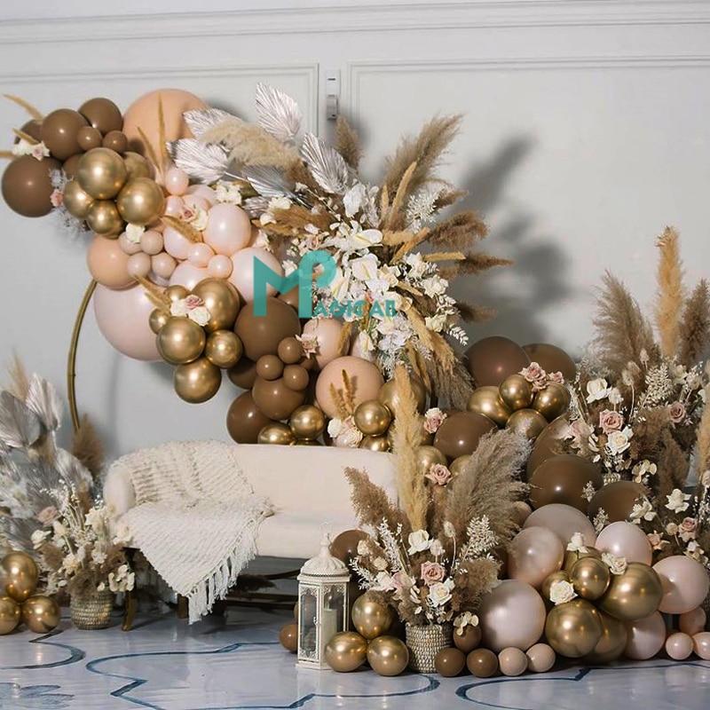 Balloons Garland Peach-Apricot Party-Decor Globos Coffee Baby Shower Birthday Wedding