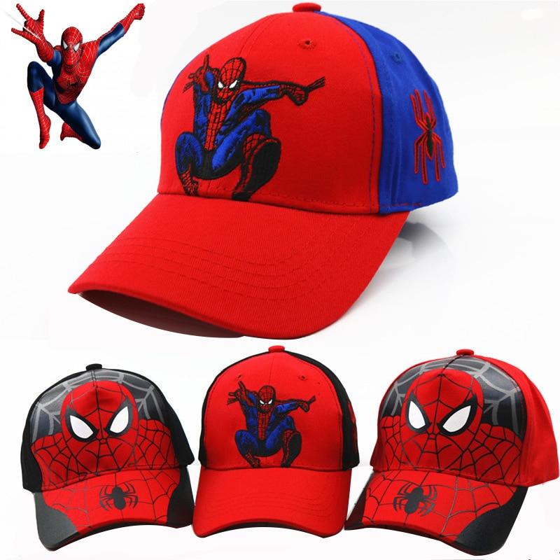 2019 Children Boys Girls Hats New Spiderman Cartoon Baby Embroidery Cotton Baseball Caps Kids Boy Girl Hip Hop Hat Kids Snapback