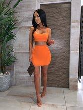 Top Quality Celebrity  Orange Two Pieces Set Rayon Bandage Dress Club Party Elegant
