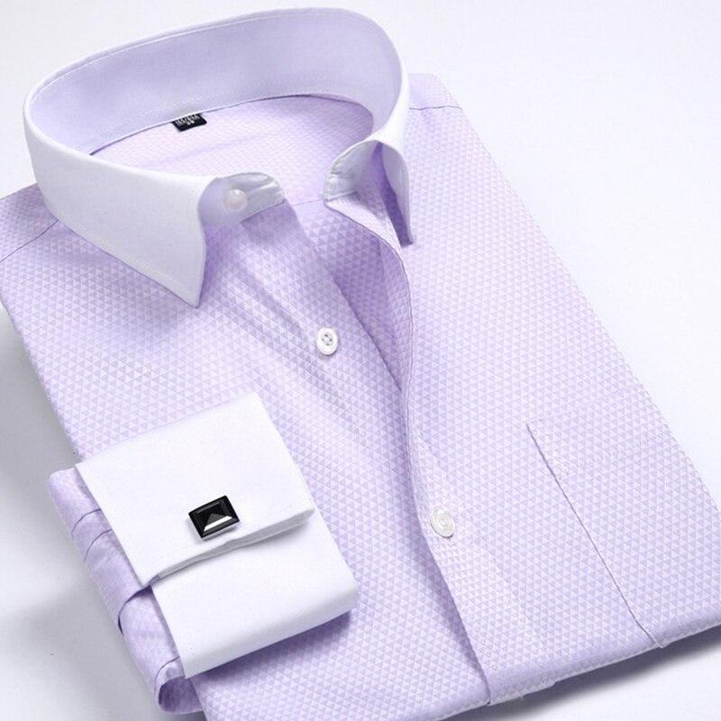 Men's Dress Shirts Loose French Cuff Regular fit Luxury Striped Business Long Sleeve Cufflinks Social Pluse Size Men Shirt 6XL 13