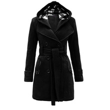 Women Coats Casual Office Lady Winter Black Plus S