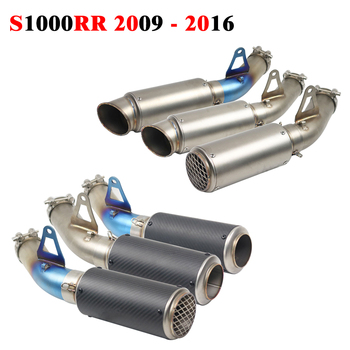 S 1000RR For BMW S1000RR 2009 - 2016 2015 2014 Motorcycle Modified Exhaust Muffler Carbon Fiber With MOTO Connect Middle Pipe