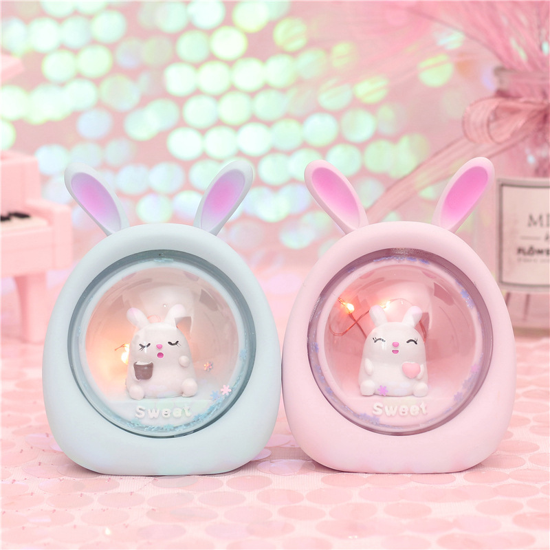 Resin LED Rabbit Novetly Light Baby Nursery Animal Bedside Lamps For Bedroom Decoration Christmas Gift Toys For Kids