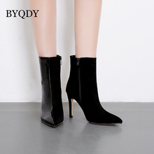 BYQDY Autumn Boots Thin High Heel Knee-High Classic Pointed Toe PU Leather Zip Ladies Party Dress Solid Black Pink