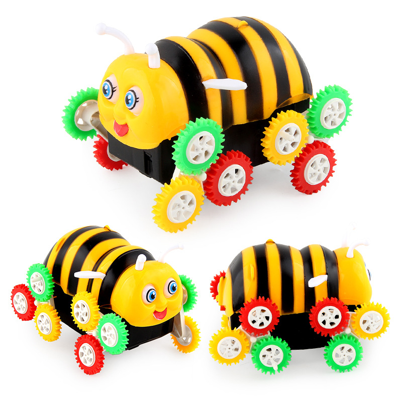 Children Inertia Four Wheel Dump Truck Automatic Flipping Small Bee Train Excavator Stall Toy