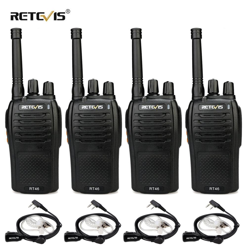 RETEVIS RT46 Walkie Talkie 4pcs PMR Radio PMR446/FRS Portable Two Way Radio VOX Micro-USB Charging  Li-ion (or AA) Battery Radio