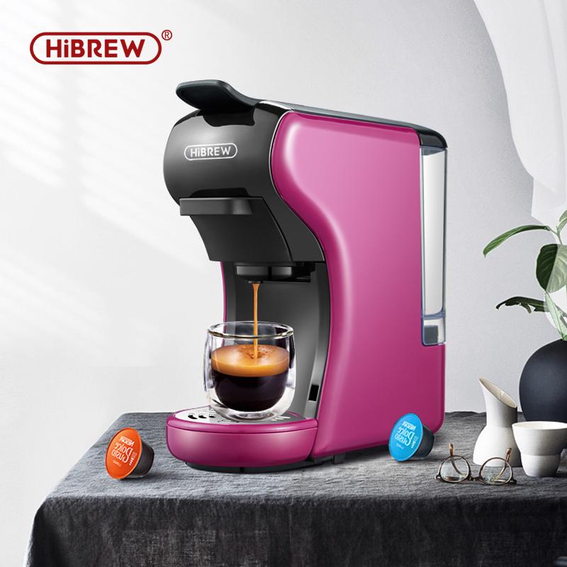 HiBREW  Coffee Machine 19 Bar 3 in1 Multiple Capsule Espresso,Cafetera,DolceMilK&Nexpresso Capsule&Ground &Kcup Pod CompatibleH1