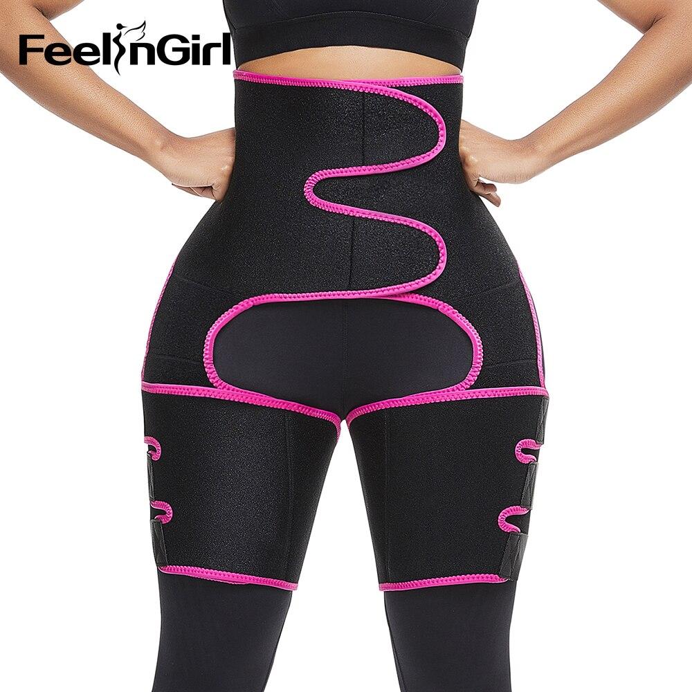 FeelinGirl Neoprene Slim Thigh Trimmer Leg Shapers Slimming Belt Waist Trainer Sweat Shapewear Fat Burning Compress Belt