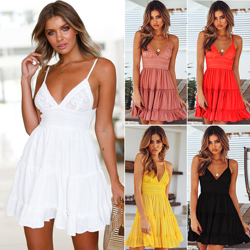 2020 Boho Summer Dress Women Sexy Strappy Lace White Mini Dresses Female Ladies Beach V Neck Party Sundress Black Yellow Pink