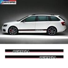ประตูรถด้านข้างกระโปรงลายสำหรับ Skoda Octavia Racing Sport Stripesด้านข้างอัตโนมัติBdoy DecorไวนิลDecalsอุปกรณ์เสริม