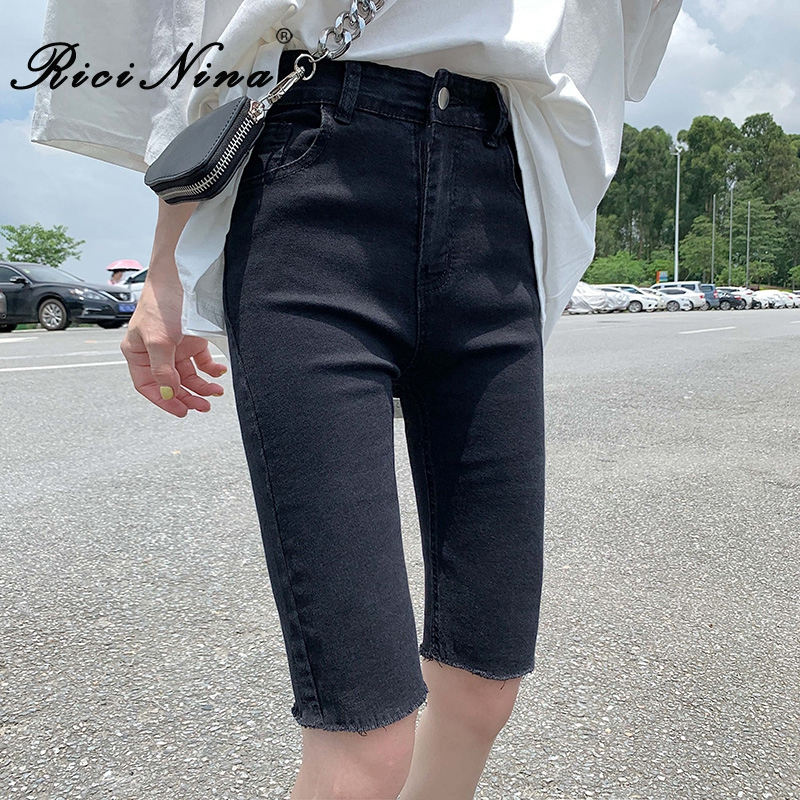 RICININA Jean Shorts Women High Waisted Zipper Buttons Pocket Short Femme T Jeans Mujer Summer Casual Plus Size Streetwear
