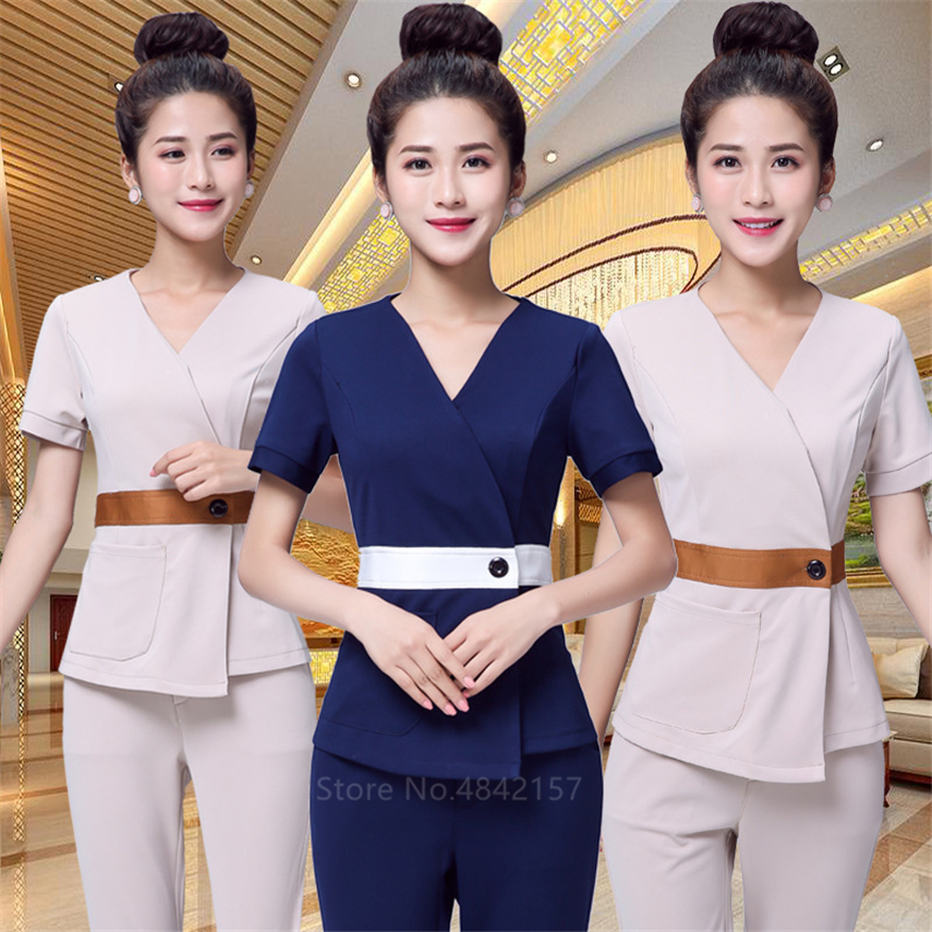 Woman Medieval Unifroms Spa Sauna Work Wear Dental Beauty Salon Hospital Nurse Clothes 2pcs V-neck Lady Massage Clothing Set