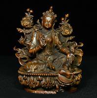 Old Tibet Boxwood wood Green Tara Mahayana Buddhism enlightenment Goddess Statue