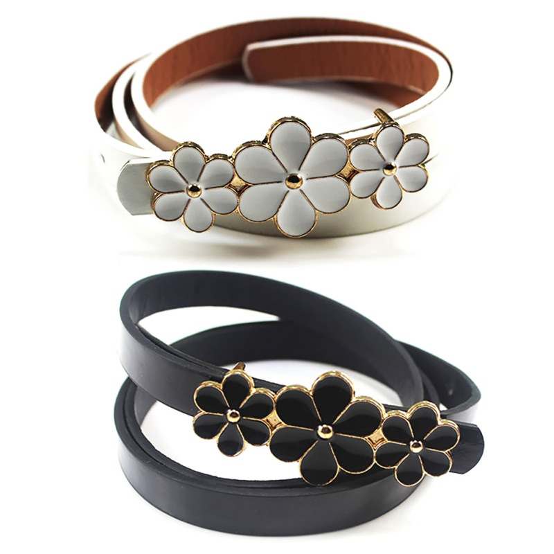 Elasticity PU Belts Dresses Black Flower Strap Button Waist Belt Female Hot Sell Belts