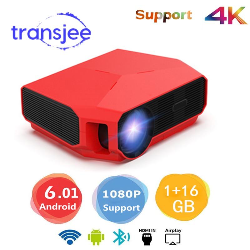 TRANSJEE Volle HD Mini Projektor Für Smartphone 4k Projektor WIFI Android 6,01 LED Home Cinema 3D Video Beamer 3800 lumen
