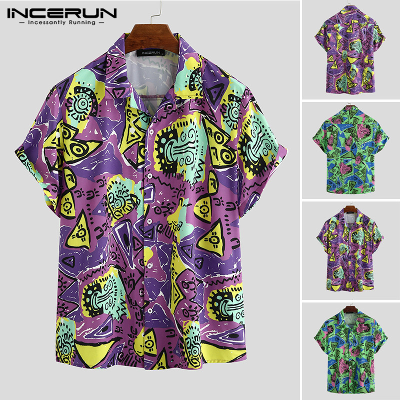INCERUN Summer Printed Men Hawaiian Shirt Short Sleeve 2020 Casual Breathable Camisa Lapel High Street Fashion Mens Beach Shirts