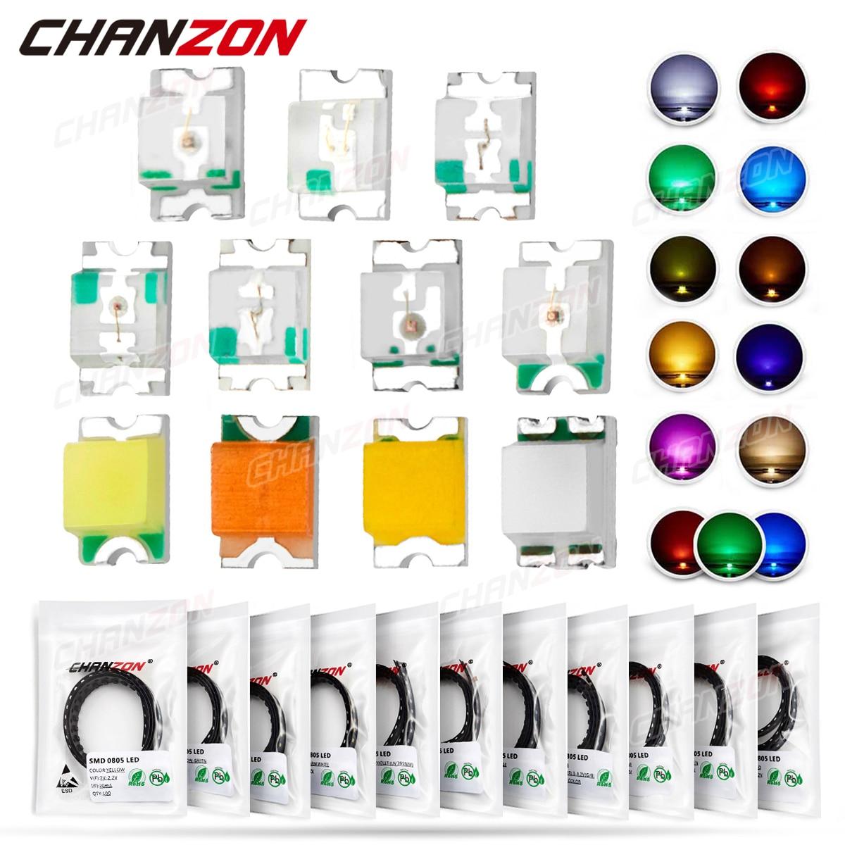 100 шт. 0805 (2012) SMD СВЕТОДИОДНЫЙ излучающий диод в комплекте, чип лампы светильник световые бусины, теплый белый, красный, зеленый, синий, желтый, ...