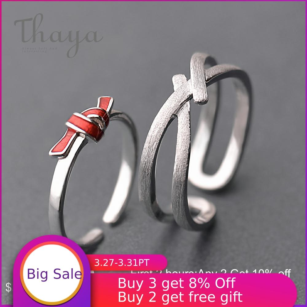 Thaya S925 Silver Red Knot Ring Streak Cross Valentine Finger Rings For Women Boho Dress Korea Jewelry Female Lover Gift