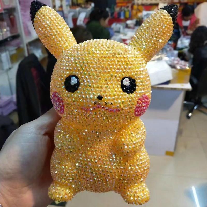 Rhinestone Pikachu Piggy Bank Handmade Coin Dispenser Money Hidden for Kids Miniature Figurine Home Decor Accessories Coin Box