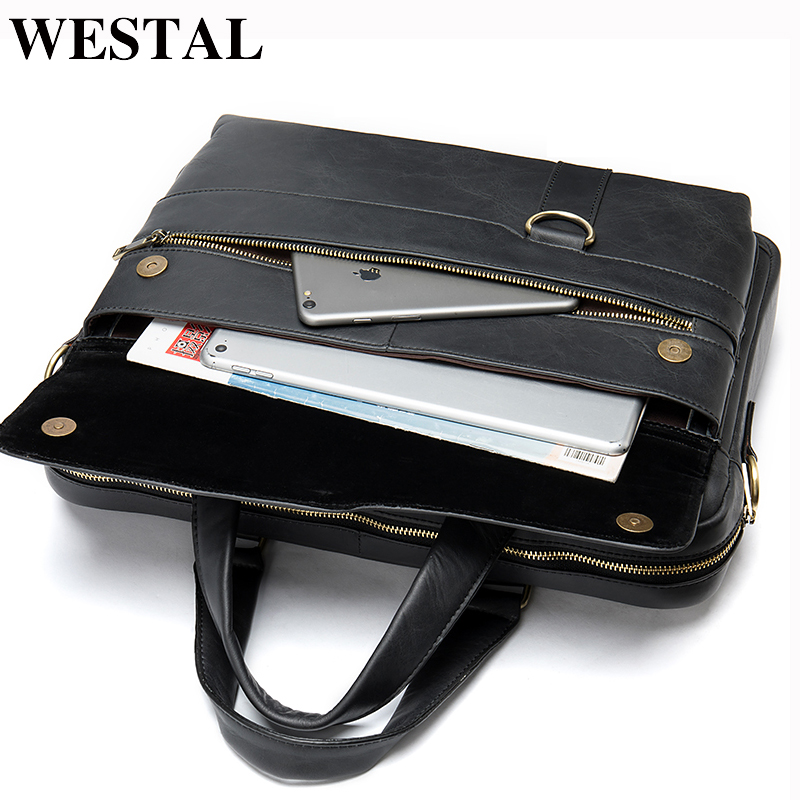 WESTAL Men's Briefcases Totes Men's Bag Genuine Leather Office Bags For Men Laptop Bag Leather Male Briefcase For Document 8967