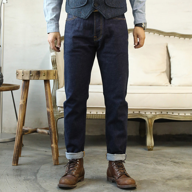 GT-0002 Read Description! Raw Indigo Selvage Washed Denim Slim Fitting Pants Sanforized Raw Denim Jean 12oz