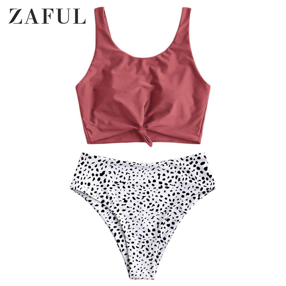 ZAFUL Cherry Red Women Knot Dalmatian Print High Waisted Tankini Swimsuit Removable Padded Tank Top Swimwear Scoop Neck Cute