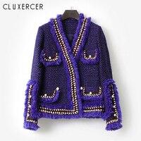 High Qulity Autumn Winter Tweed Jacket Women Elegant V Neck Long Sleeve Luxury Pearl Button Wool Ladies Jackets Coat