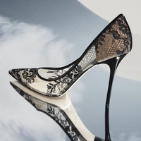 Sexy Black Lace High Heel Pumps Shoes Women Pointed toe Mesh Patent Heels Party Dress Shoes Banquet Women Pumps Plus Size 10