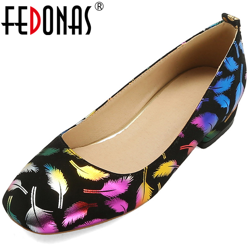 FEDONAS Round Toe Women Pumps Basic Working Pumps National Style Embroidery Retro Summer Shoes Woman Square Heeled Shoes Woman