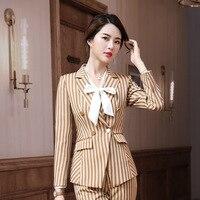 IZICFLY New Style Autumn Khaki Striped Blazer Set With Trouser Uniform Design Plus Size Business pants suit women Office wear