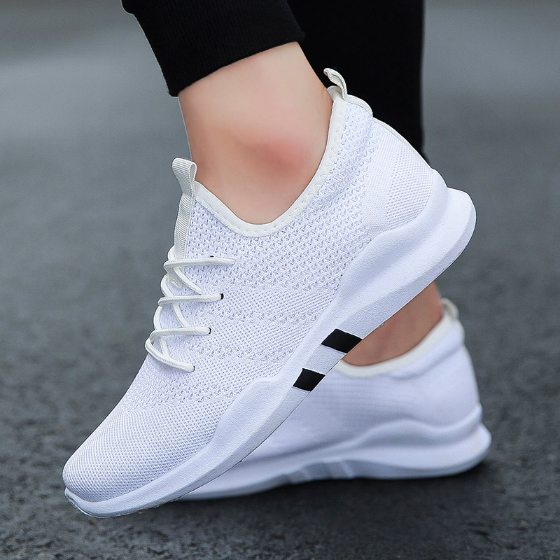 Breathable Shoes Basket Sneakers Mens Trainers Tennis Lace-Up Black White Zapatillas