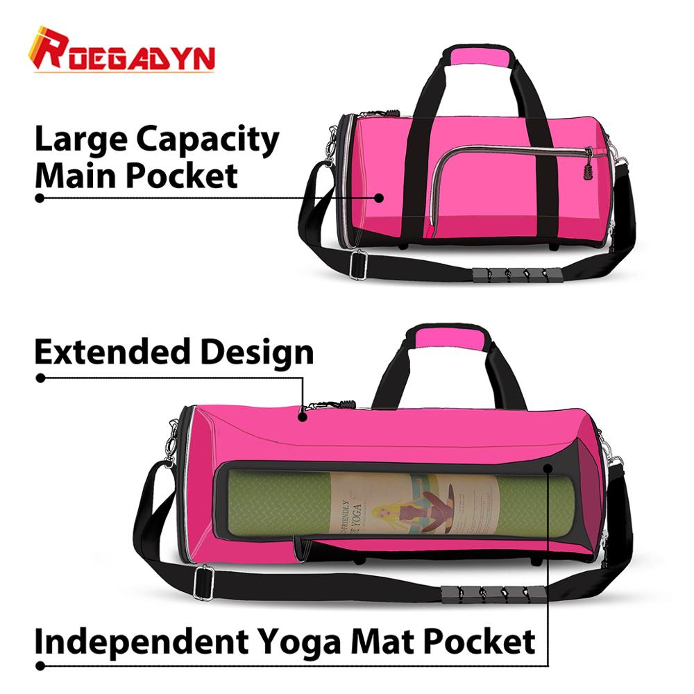 ROEGADYN Yoga Mat Bag For Women 2019 Pink Gym Bag Women Sports Bag For Fitness/Gym Women Gym Bag Shoe Compartment Small Gym Bag