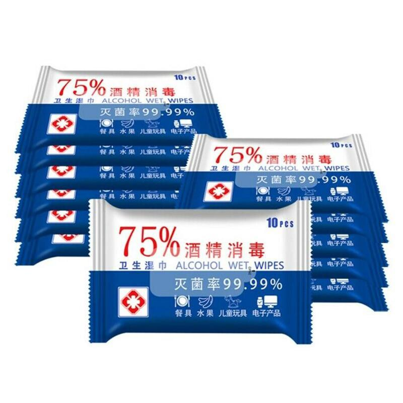 10Pcs/Pack Portable 75% Alcohol Wet Wipes Antiseptic Cleaning Sterilization Wipes Wet Wipes Health Care Disinfection Wholesale