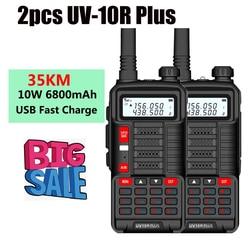 6800Mah 10W Walkie-Talkies 2 Pcs Krachtige Boafeng Uv 10R Plus Vhf Uhf Radio Voor Auto Trucker communicatie Apparatuur Marine Radio