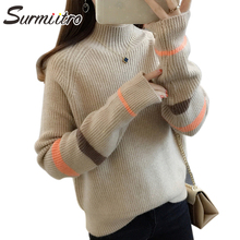 Женский вязаный свитер SURMIITRO, водолазка половины, синий желтых цвета с длинным рукавом джемпер в корейском стиле для женщин осени зима