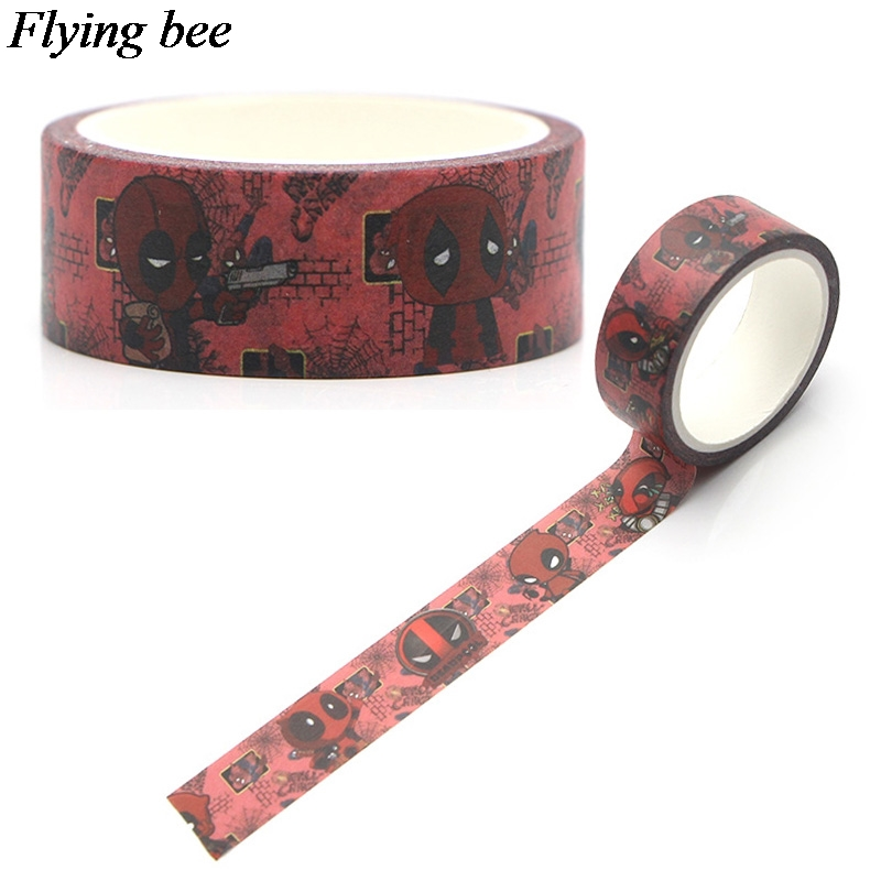 Flyingbee 15mmX5m Deadpool Cool Washi Tape Paper DIY Decorative Adhesive Tape Stationery Punk Masking Tapes Supplies X0297