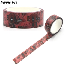 Flyingbee 15mmX5m Deadpool Cool Washi Tape Paper DIY Decorative Adhesive Stationery Punk Masking Tapes Supplies X0297