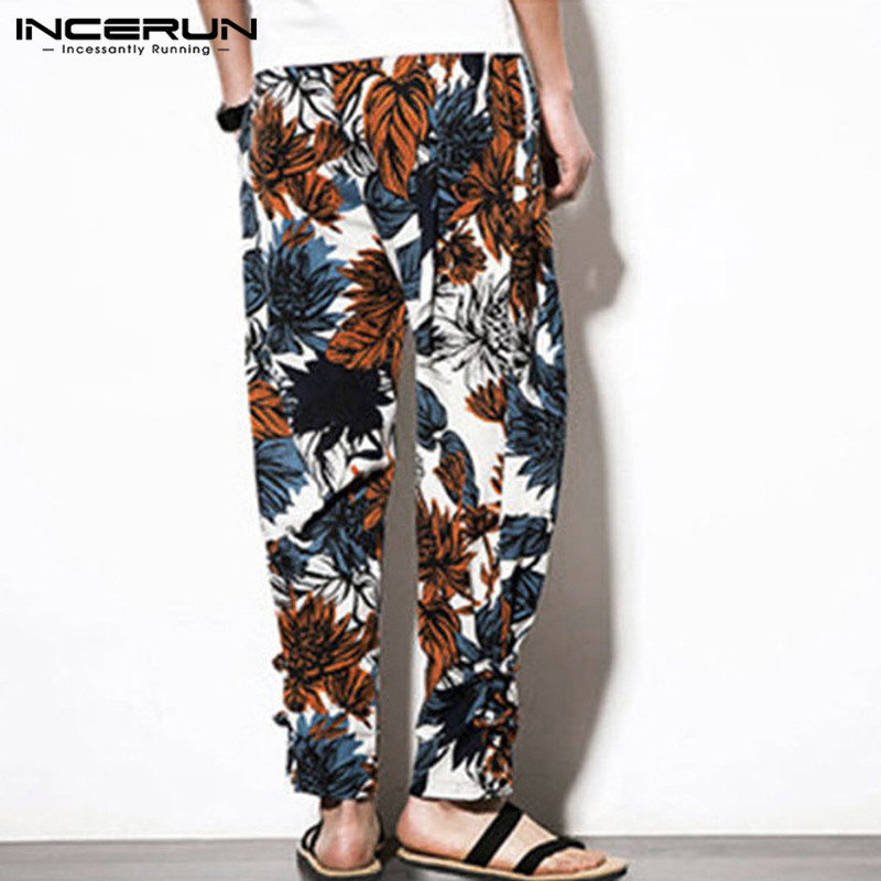 Vintage Printed Men Harem Pants Elastic Waist Baggy Joggers Ethnic Trousers Casual Cotton Streetwear Men Long Pants 5XL INCERUN