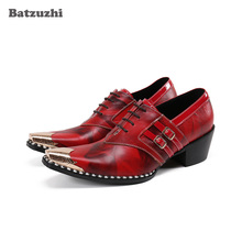 Batzuzhi New Design Shoes for Men 6.5cm High Heels Genuine Leather Dress Shoes Men Red Party and Wedding Shoes Men Business doershow latest style african shoes and bag set new italian high heels shoes and matching bag set for party dress kh1 23