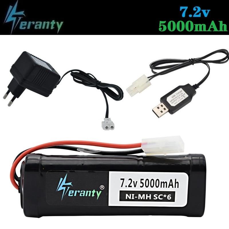 Upgrade Power 7.2V 5000mAh Battery With Tamiya Plug 7.2v Charger SC*6 Cells 7.2v NiMH Battery Pack For RC Car Toys Boats Tanks